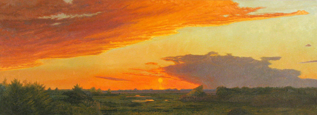 <i>Evening Marshes,</i> oil on canvas, 27 x 74""