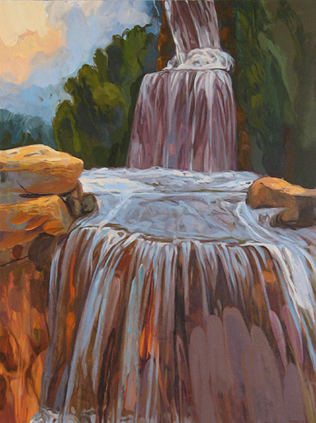 <i>Flowing Waters,</i> oil on canvas, 40 x 30""