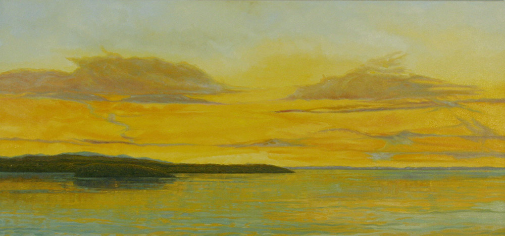 <i>Shimmering Bay View,</i> oil on canvas, 26 x 54""